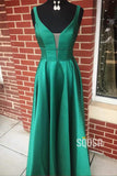 Attractive V-neck Double Straps A-Line Satin Simple Prom Dress QP0931|SQOSA