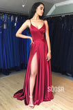 Criss-Cross Straps Satin A-Line Simple Prom Dress with Slit Formal Evening Gowns QP0933|SQOSA