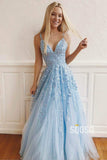 A-Line Sky Blue Tulle Appliques Long Homecoming Dress Prom Dress QP0935|SQOSA