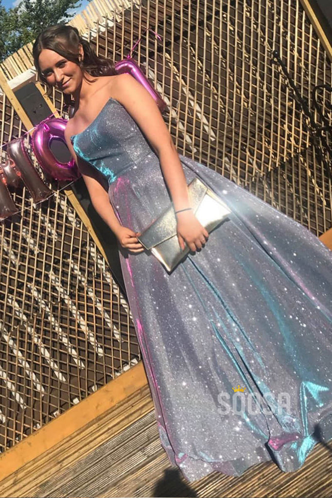 Strapless Purple Satin A-Line Long Sparkle Prom Dress with Slit QP0980|SQOSA