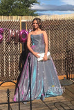 Strapless Purple Satin A-Line Long Sparkle Prom Dress with Slit QP0980