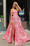 Strapless Exquisite Lace A-Line High Split Long Prom Dress with Pockets QP0983|SQOSA
