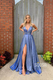 A-Line Deep V-neck Sexy High Split Long Prom Dress Glitter QP0989|SQOSA