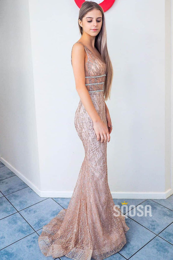 Sexy Deep V-Neck Sparkle Sequins Mermaid Prom Dress QP0992