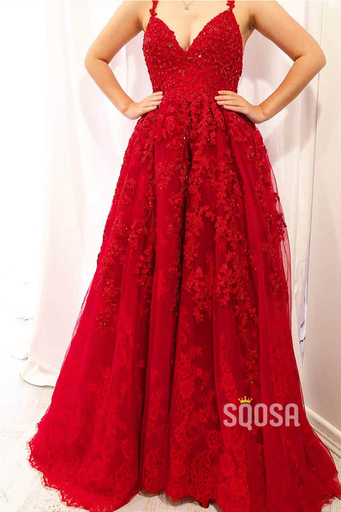 A-line Burgundy Tulle Appliques Spaghetti Straps Long Prom Dress QP0994|SQOSA