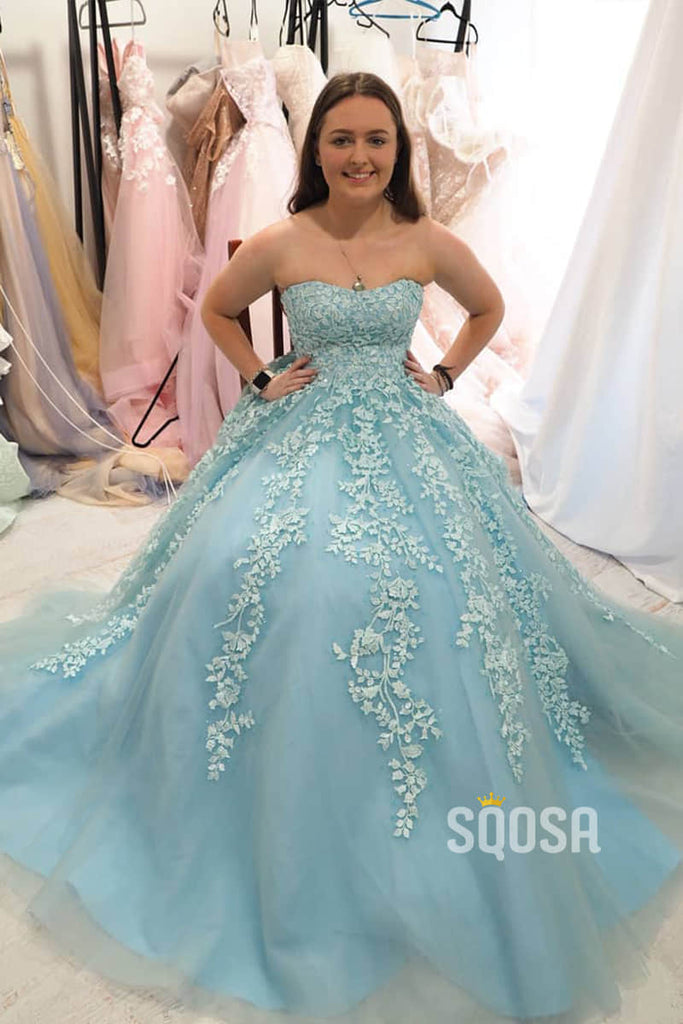 Strapless Sky Blue Appliques A-line Tulle Long Prom Dress QP0995|SQOSA