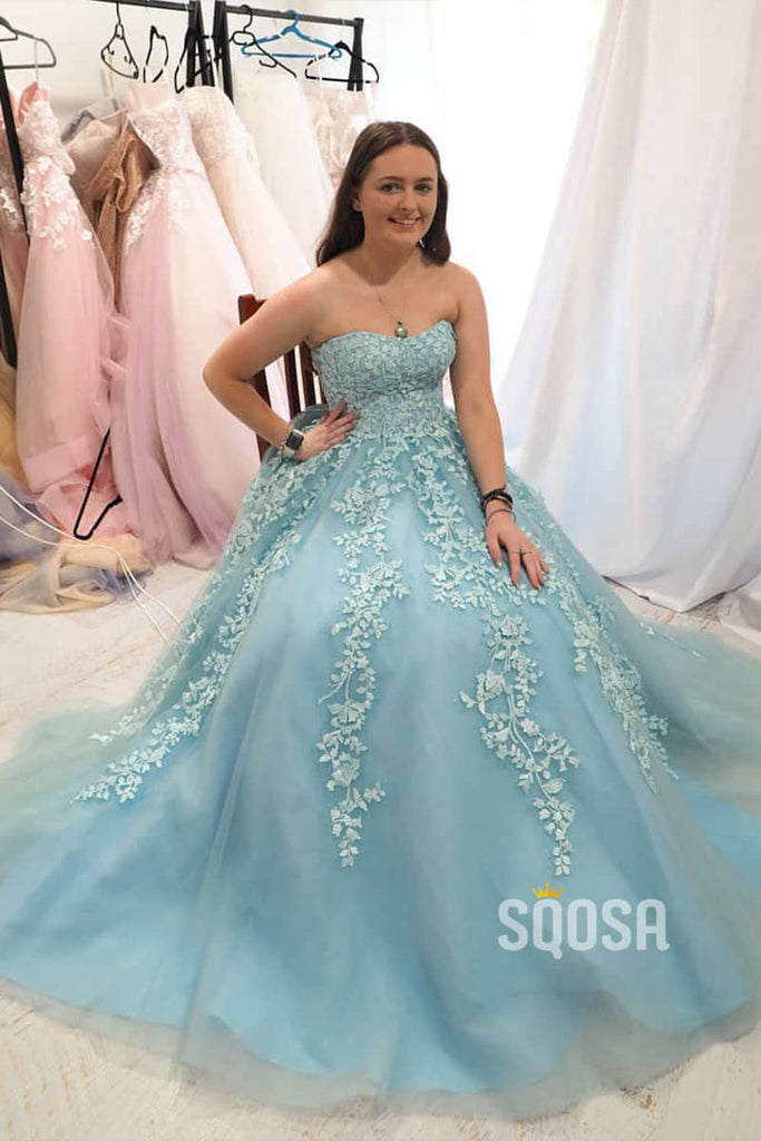 Strapless Sky Blue Appliques A-line Tulle Long Prom Dress QP0995