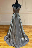 A-Line Beaded Bodice Spagheeti Straps Sparkle Prom Dress Long Formal Evening Gowns QP1005|SQOSA