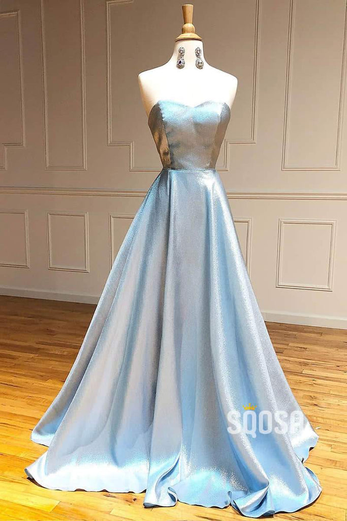Sweetheart Sky Blue Satin A-line Simple Prom Dress Glitter Formal Dress QP1007|SQOSA