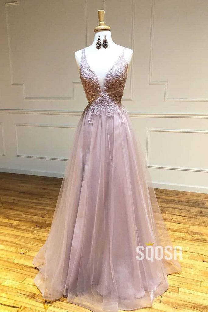 Dusty Pink Tulle Deep V-neck Appliques Beaded A-Line Long Prom Dress QP1009|SQOSA