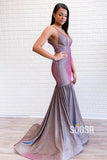 Trumpet/Mermaid V-neck Spaghetti Straps Purple Sparkle Prom Dress QP1012|SQOSA