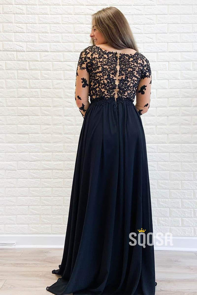 Illusion Long Sleeves Appliques Black Chiffon Long Prom Dress Evening Gowns QP1015|SQOSA