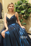 Navy Blue Satin V-neck Beaded A-Line Long Prom Dress with Slit QP1017|SQOSA
