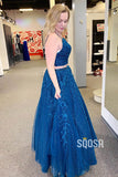 Two Piece Prom Dress Royal Blue Sparkle Tulle Appliques Long Formal Evening Gowns QP1018|SQOSA