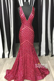 Red Sequins Deep V-neck Mermaid Prom Dress with Sweep Train QP1019|SQOSA