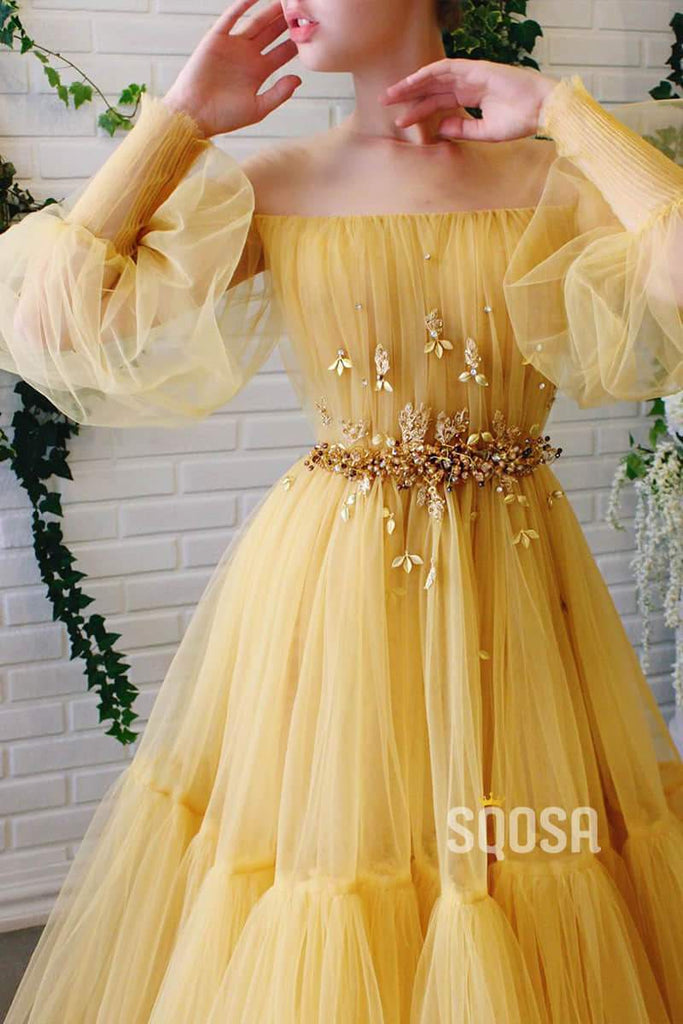 Off-the-Shoulder Yellow Tulle Beaded A-Line Long Prom Dress Formal Evening Gowns QP1022|SQOSA