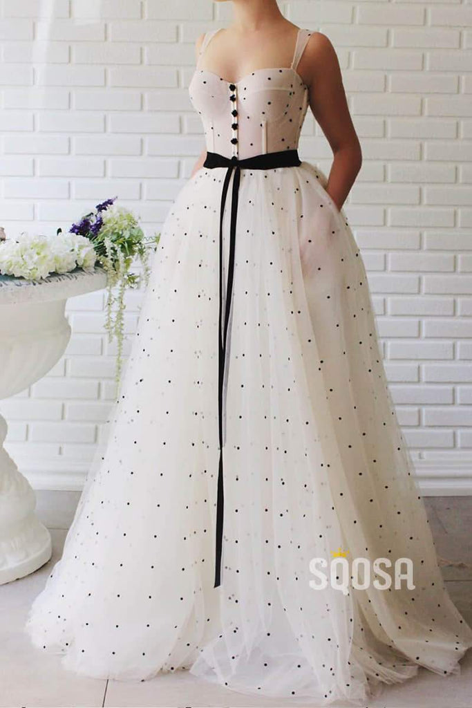 Double Straps Sweetheart Point Tulle A-Line Elegant Prom Dress with Pockets QP1024|SQOSA