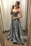 Spaghetti Straps V-neck Grey Sparkle Satin A-Line Prom Dress Glitter QP1026|SQOSA