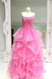 Hot Pink Tulle Spaghetti Straps Appliques Long Prom Dress Gowns QP1027|SQOSA