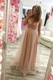 Attractive Illusion V-neck Beading A-Line Dusty Pink Tulle Long Prom Dress QP1030|SQOSA
