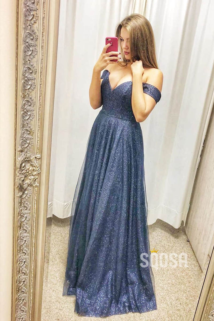 Navy Blue Tulle Off-the-Shoulder A-Line Long Sparkle Prom Dress QP1032|SQOSA