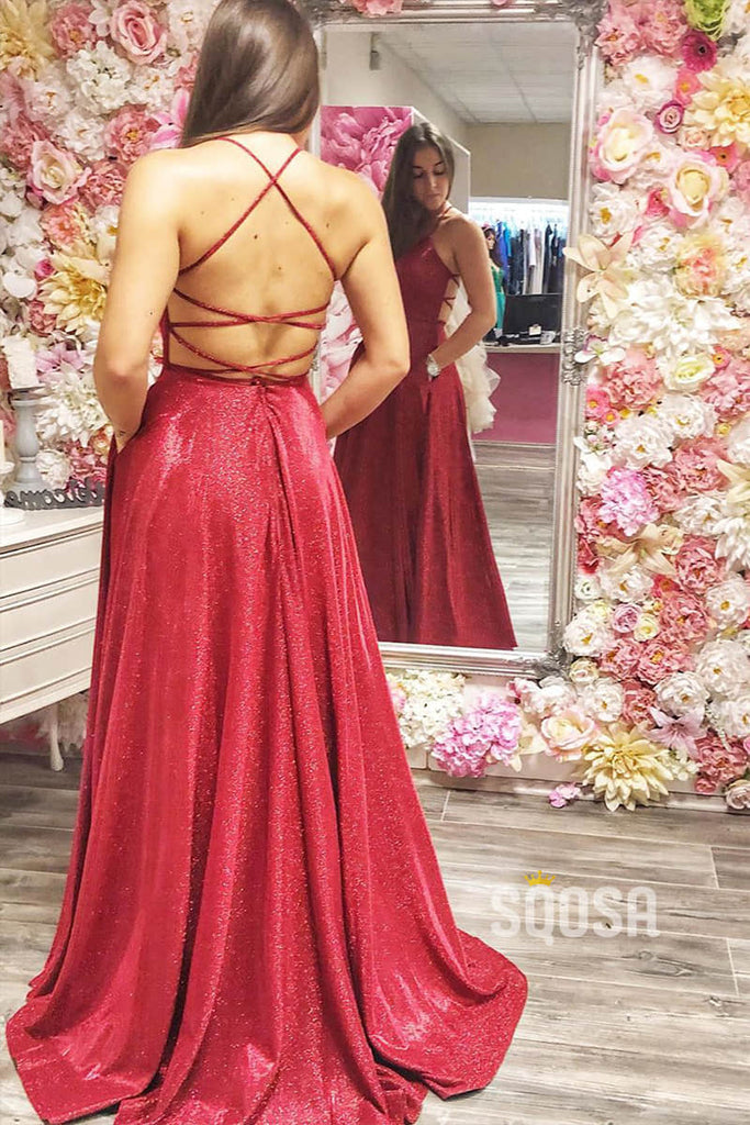 Attractive V-neck Burgundy Satin Criss Cross A-Line Prom Dress Glitter QP1033