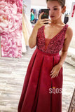 Burgundy Satin V-neck Beading A-Line Long Prom Dress Formal Evening Gowns QP1035|SQOSA