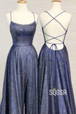 Navy Blue Tulle Criss Cross Straps A-Line Sparkle Prom Dress Long Homecoming Dress QP1060|SQOSA