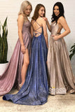 Navy Blue Tulle Criss Cross Straps A-Line Sparkle Prom Dress with Slit Long Homecoming Dress QP1060