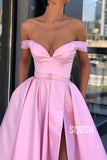 Off-the-Shoulder Pink Satin A-Line Split Long Prom Dress with Pockest QP1064|SQOSA