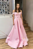 Off-the-Shoulder Pink Satin A-Line Split Long Prom Dress with Pockest QP1064