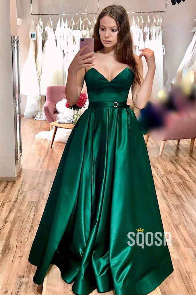 Strapless V-neck Green Satin A-Line Long Simple Prom Dress with Split QP1066|SQOSA