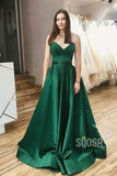 Strapless V-neck Green Satin A-Line Long Simple Prom Dress with Split QP1066
