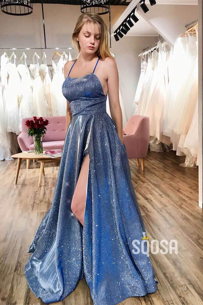 A-Line Scoop Spaghetti Straps Sparkle Prom Dress with Slit QP1071|SQOSA