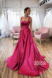 A-Line Double Straps Split Long Prom Dress with Pockets QP1073|SQOSA