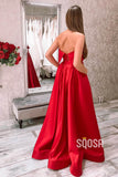 A-Line Red Satin Strapless Simple Long Prom Dress with Pockets QP1079|SQOSA