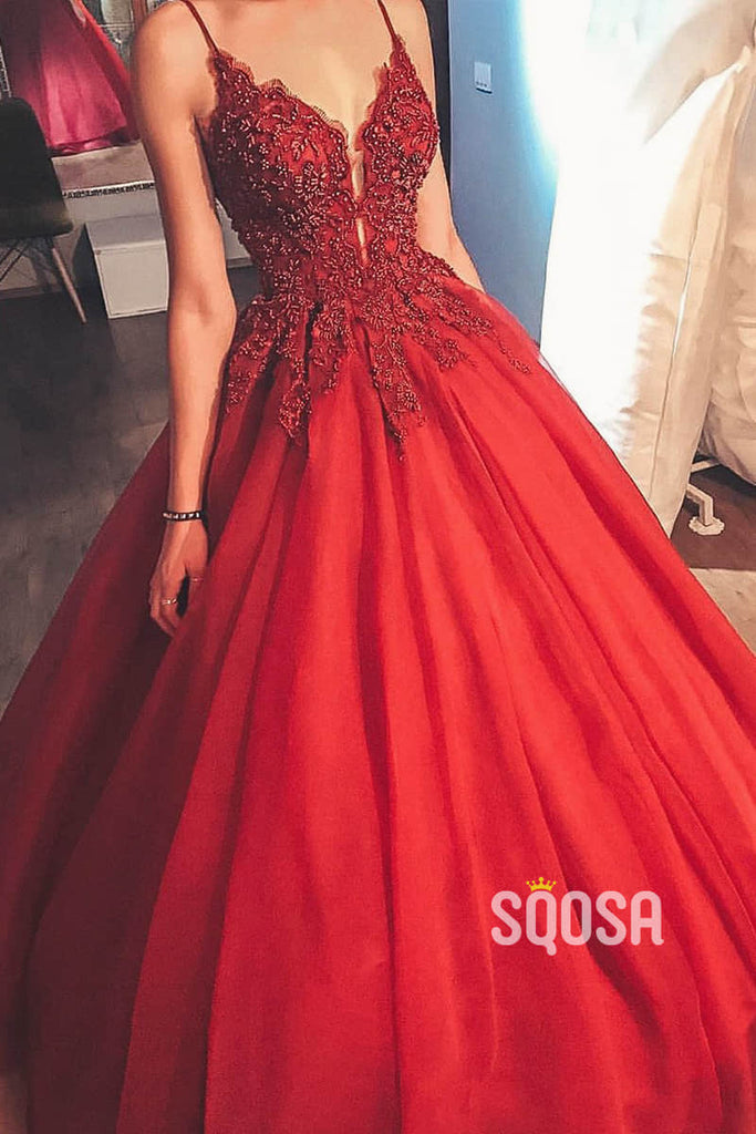 Ball Gown Spaghetti Straps Beaded Burgundy Tulle Long Prom Dress Formal Evening Gowns QP1083|SQOSA