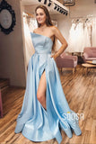 Sky Blue Satin Strapless A-Line Split Long Prom Dress with Pockets QP1085|SQOSA