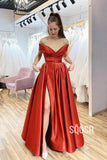 Off-the-Shoulder A-Line Satin Spalit Long Prom Dress with Pockets QP1087|SQOSA