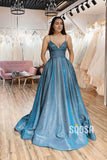 A-Line Spaghetti Straps Sparkle Tulle Long Prom Dress with Pockest QP1088|SQOSA