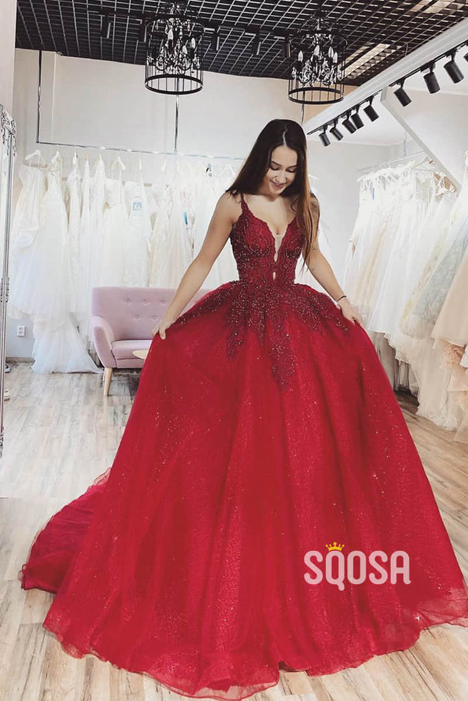 Burgundy Tulle Appliques A-Line Spaghetti Straps Long Prom Dress Formal Evening Gowns QP1090|SQOSA