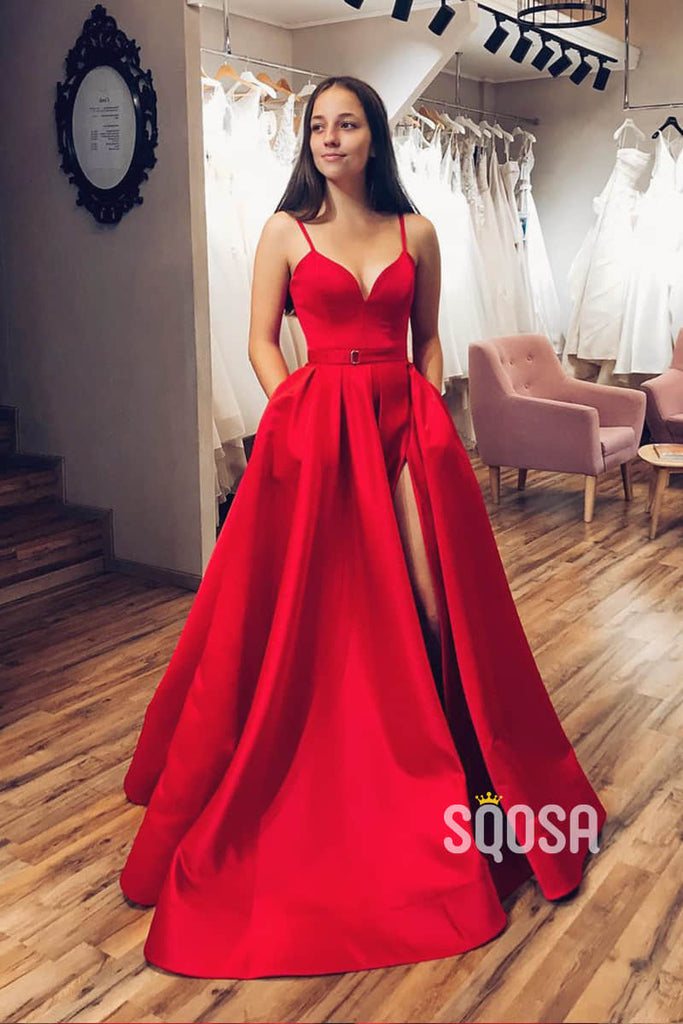 A-Line Red Satin V-neck Sexy High Split Long Prom Dress with Pockets QP1094|SQOSA