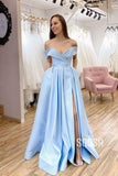 A-Line Sky Blue Satin Off-the-Shoulder High Split Long Prom Dress with Pockets QP1095|SQOSA