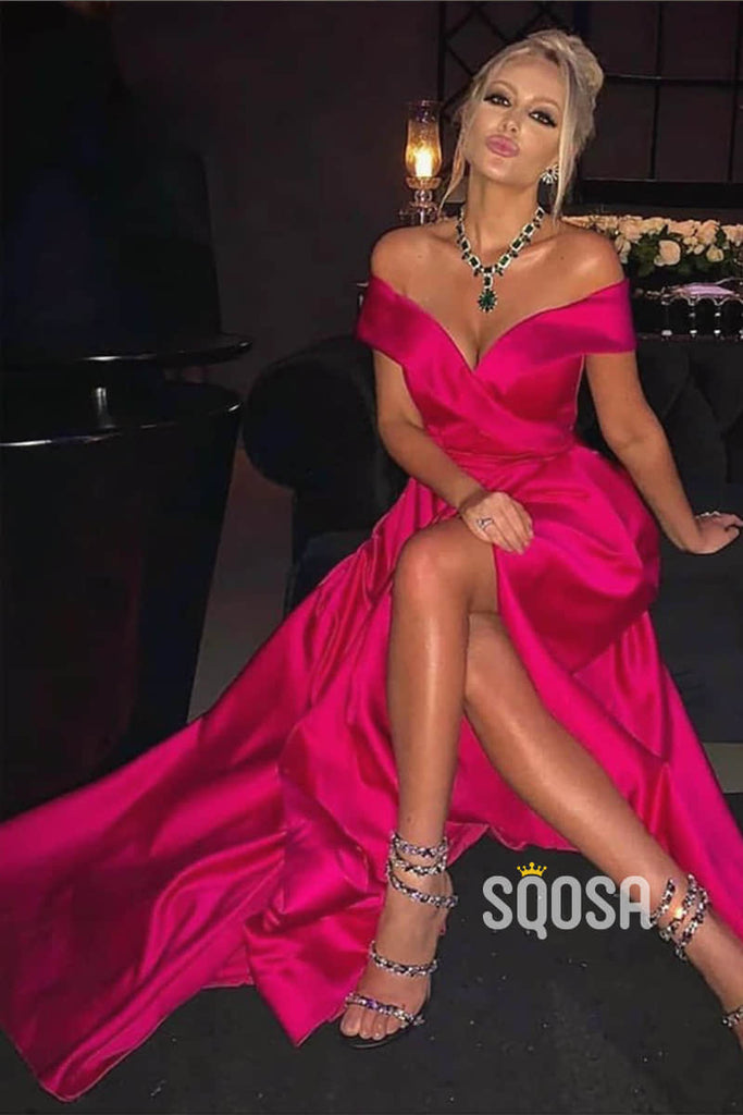 Hot Pink Satin Off-the-Shoulder A-Line Long Prom Dress with Slit QP1101|SQOSA