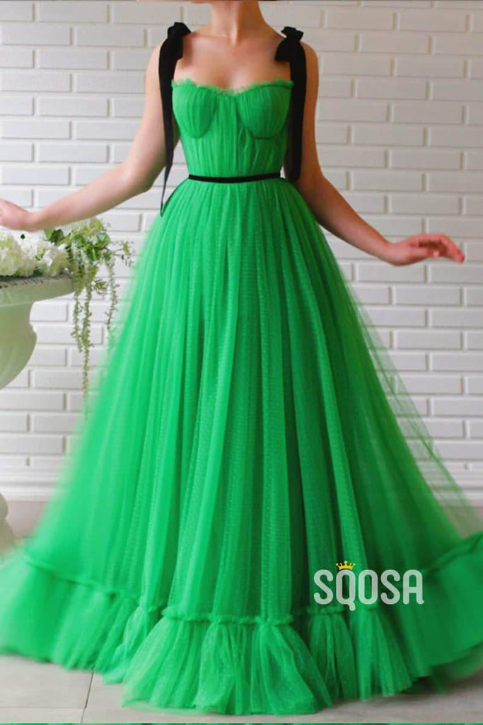Green Tulle Sweetheart A-Line Long Prom Evening Dress QP1113|SQOSA