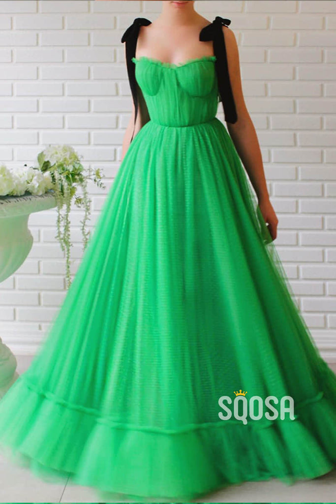 Green Tulle Sweetheart A-Line Long Prom Evening Dress QP1113