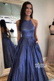Jewel Neckline Navy Blue Tulle A-Line Sparkle Prom Dress with Pockets Pageant Dress QP1126|SQOSA
