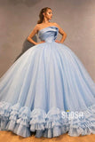 Ball Gown Sky Blue Tulle Beaded Strapless Long Sparkle Prom Dress,Formal Evening Gowns QP1127|SQOSA