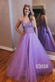 Lavender Tulle Appliques A-Line Spaghetti Straps Long Sparkle Prom Dress Evening Gowns QP1130|SQOSA