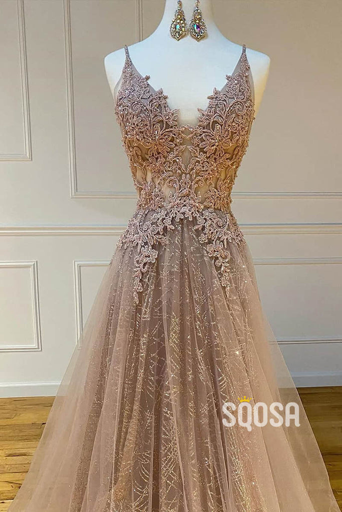 Modest Tulle V-neck A-Line Long Lace Prom Dress Formal Evening Gowns QP1136|SQOSA